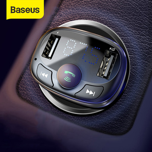 Baseus Car Charger for iPhone Mobile Phone Handsfree FM Transmitter Bluetooth Car Kit LCD MP3 Player Dual USB Car Phone Charger(China)
