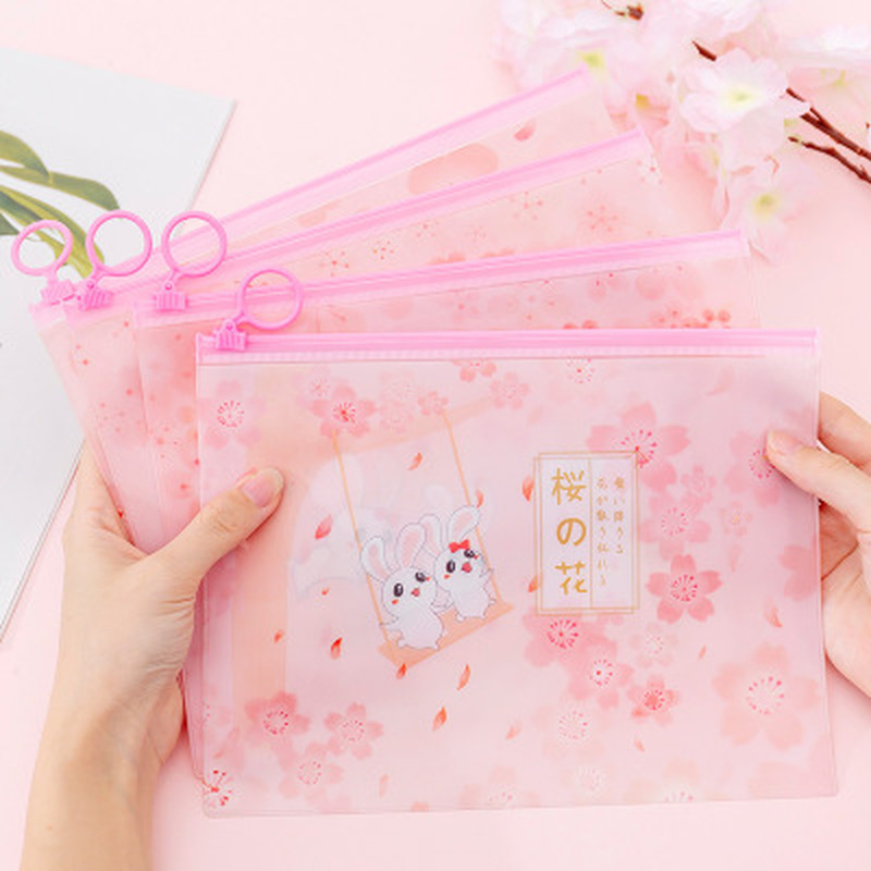 1pcs Sakura Rabbit File Bag Novelty Stationery Organiser Student Cute File Holder High Capacity Kawaii Bag School Supplies