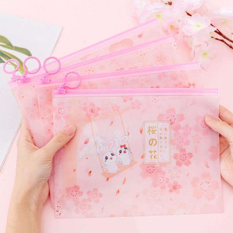 1pcs Sakura Rabbit File Bag Novelty Stationery Organiser Student Cute File Holder High Capacity Kawaii Bag School Supplies