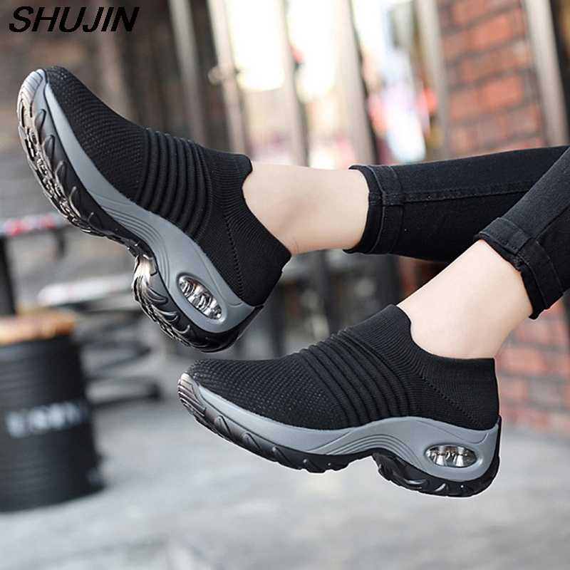 Puimentiua Nữ Giày Đế Giày Thoáng Khí Wedge Sneaker Deportivas Mujer Đen Huấn Luyện Đan Giày Nữ