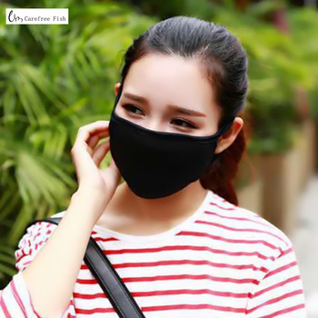 2PC Cotton Dustproof Mouth Face Mask Unisex Korean Style Kpop Black Bear Cycling Anti-Dust Cotton Facial Protective Cover Masks