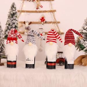 Image 2 - 2021 חדש שנה מתנה סנטה קלאוס יין בקבוק אבק כיסוי חג המולד נואל חג המולד קישוטים לבית Navidad 2020 ארוחת ערב שולחן דקור