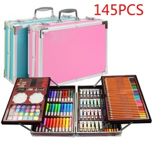 145 PCS Kid Draw Set Colored Pencil Crayon Watercolors Pens with Drawing Board Drawing Set Toy School Supplies Kid Gifts