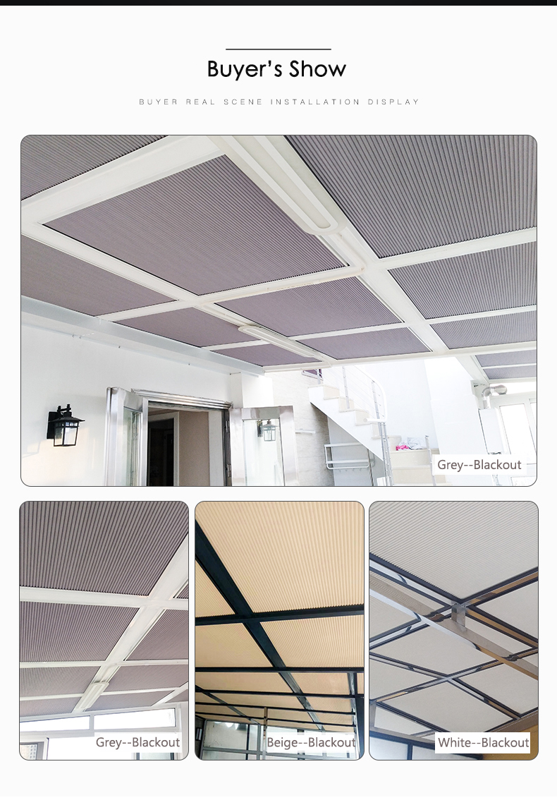 YXX- Beige Skylight Blinds with Handle /& Pull Rod Size : 40/×50cm Room Darkening Cordless Cellular Shades for Inside Ceiling Aluminum Alloy Frame