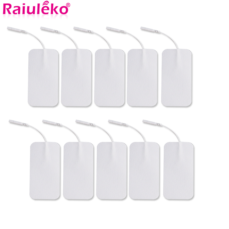 10pcs 2mm Plug Self Adhesive Replacement Tens Electrode Pads Square  Muscle Stimulator Electric Digital Machine Massager