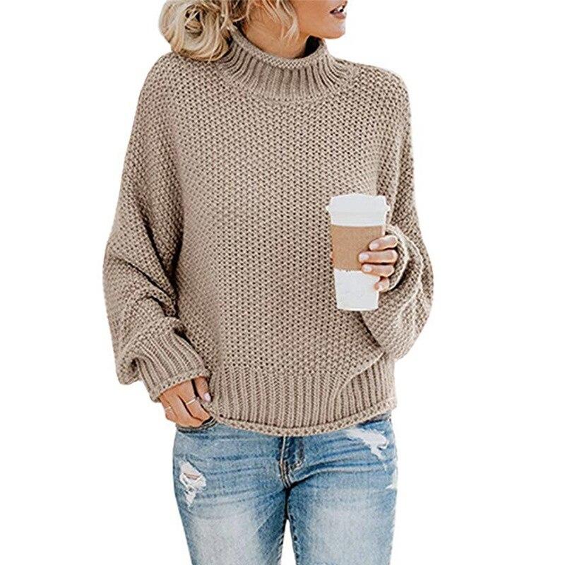Pullover Gestrickte rollkragen pullover frauen herbst winter 2019 neue mode kleidung langarm büro damen beiläufige elegante pullover