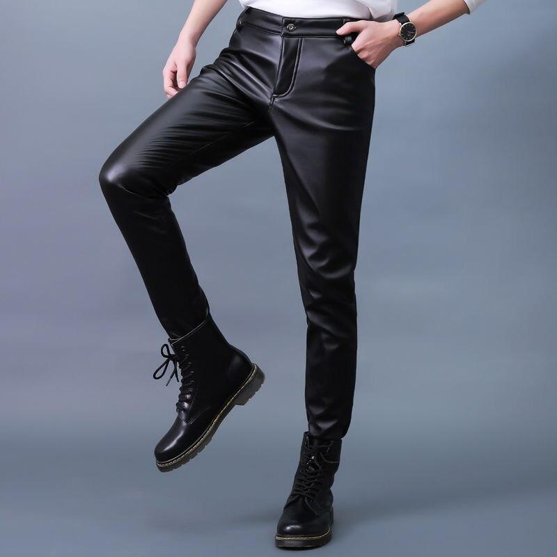 Autumn Winter Moto & Biker PU Leather Pants Straight Slim Men's Leggings Elastic Velvet Tight Korean-Style Black Pencil Pants