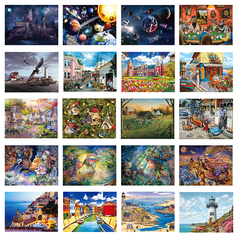 DIY 1000 Pieces Jigsaw Puzzle  Educational Puzzle Games Toys Assembling Picture Landscape Puzzles For Adults Children Kids Gifts