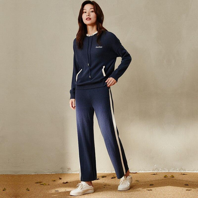 women's navy hooded cashmere sweaters fleece pullover long sleeve plus size loose Female knitwear 2 piece 2020 Autumn Winter