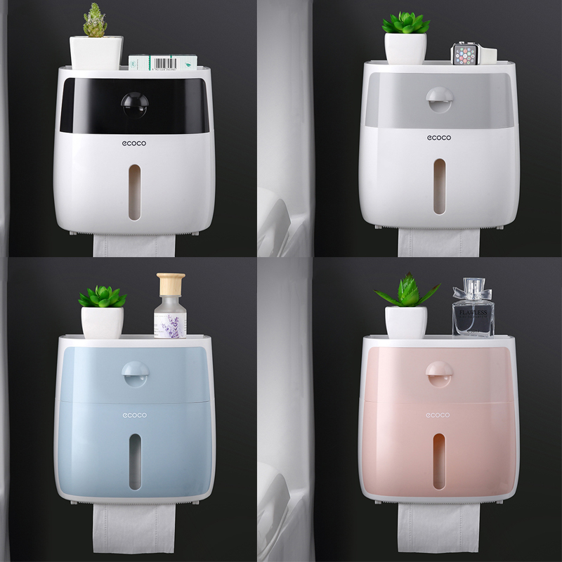 Paper-Holder Shelf Tray Tissue-Box Wall-Mounted Toilet Bathroom Waterproof