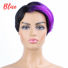 цена на Blice 8 Inch Short Straight Synthetic Wigs  Natural Mix Color Wig FT1B / Red  Left-Side Bang For African American Women Wig
