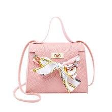 Women's Bag Litchi Bow Mini Handbags Crossbody Bags For Women Scarf Lock Shoulder Pouch Ladies Phone Package Purses Hot Sale недорого