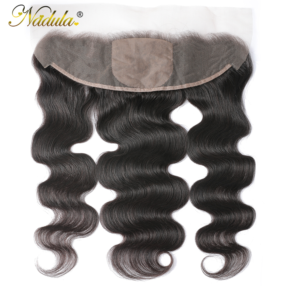 Nadula Hair Body Wave Lace Frontal 13x4 Medium Brown Lace Color Closures Body Wave Hair 4x4 Silk Base Frontal 3