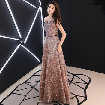 It's Yiiya Evening Dresses Plus Size Shining One Shoulder Formal Dress For Women Elegant Sleeveless Long robe de soiree E1306