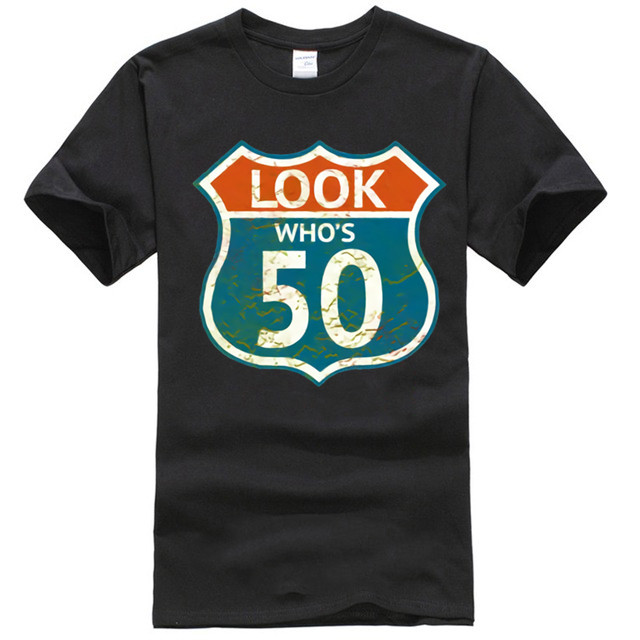 Mens 50th Birthday <font><b>T</b></font>-<font><b>Shirt</b></font> LOOK WHOS 50 Birthday Gift <font><b>Route</b></font> <font><b>66</b></font> Retro Top <font><b>T</b></font> <font><b>Shirt</b></font> image
