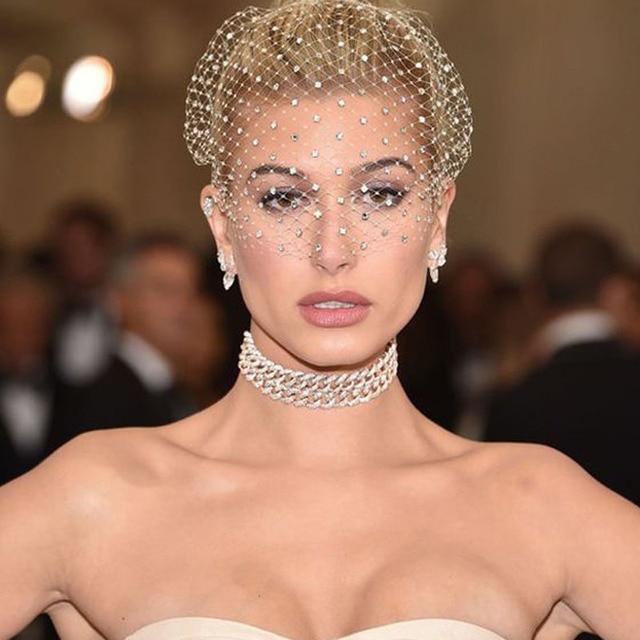 White Headband Veil for Bridal Crystal Birdcage Black Face Net Mask Hair Jewelry Accessories Veils Charming Wedding Fascinators 1