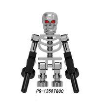 Одна строительных блоков Супер Герои Chrowed серебро T800 человеческий скелет кирпичи фигурки для детей игрушки PG1258 PG1257