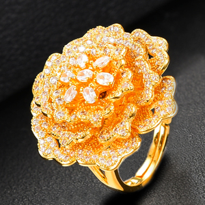 Image 5 - missvikki Nigerian Wedding Naija Bride Charm Rose Flower Leaf Luxury Women Cubic Zirconia Necklace Dubai 4PCS Dress Jewelry Set