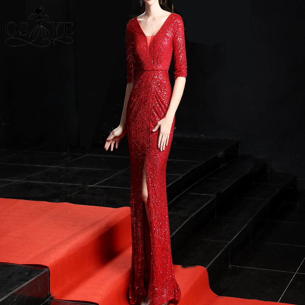 Red Evening Dresses Fit Mermaid Long Sleeves Evening Gown Triangle V Neck Party Dress Sexy Split  Sequin Formal Gown Vestido