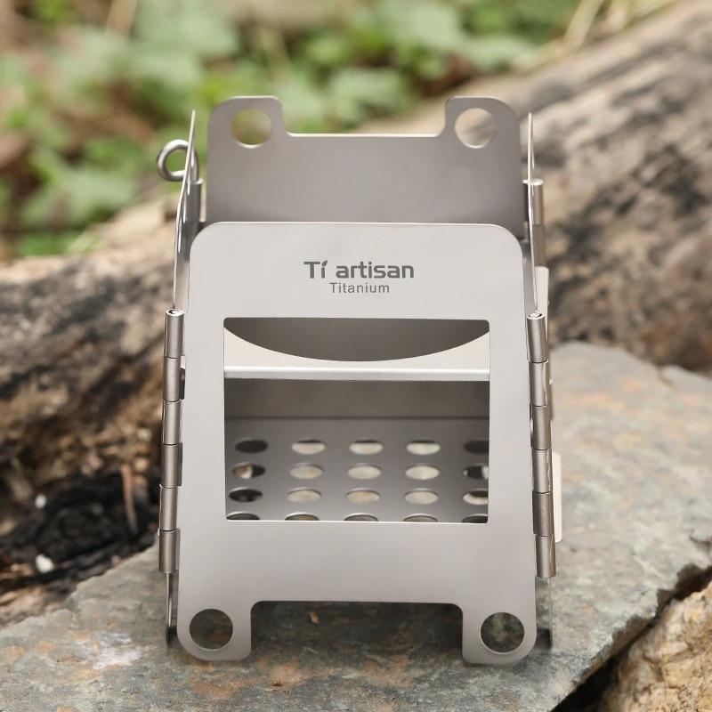 Tiartisan Titanium Wood Charcoal Stove Multi-Fuels Folding Stove Camping Hiking