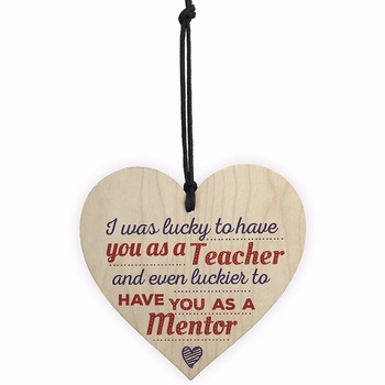 Lucky To Have You Mentor Teacher Tutor Thank You Sign Novelty Wooden Heart Leaving Sign Plaque Sign Christmas Gift image
