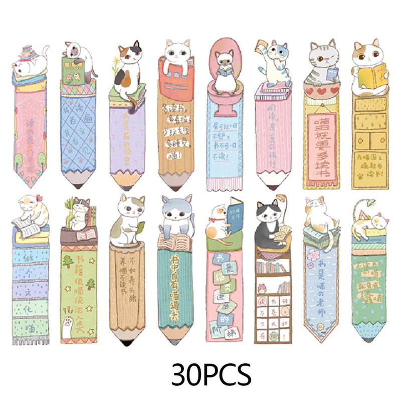 30Pcs/lots Cute Cat Bookmark Paper Cartoon Animals Bookmark Kids Student Gift School Stationery Film Bookmark image