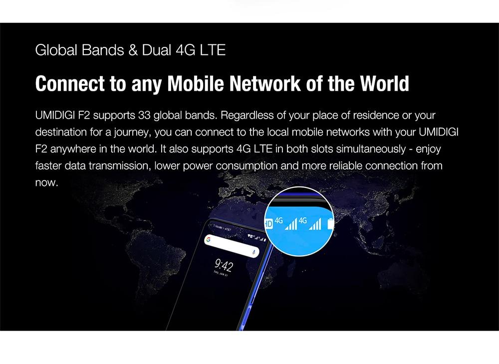 "H97424c43aaf7459f8ce4353cbc52975dC Pre-sale UMIDIGI F2 Android 10 Global Version 6.53""FHD+6GB 128GB 48MP AI Quad Camera 32MP Selfie Helio P70 Cellphone 5150mAh NFC"