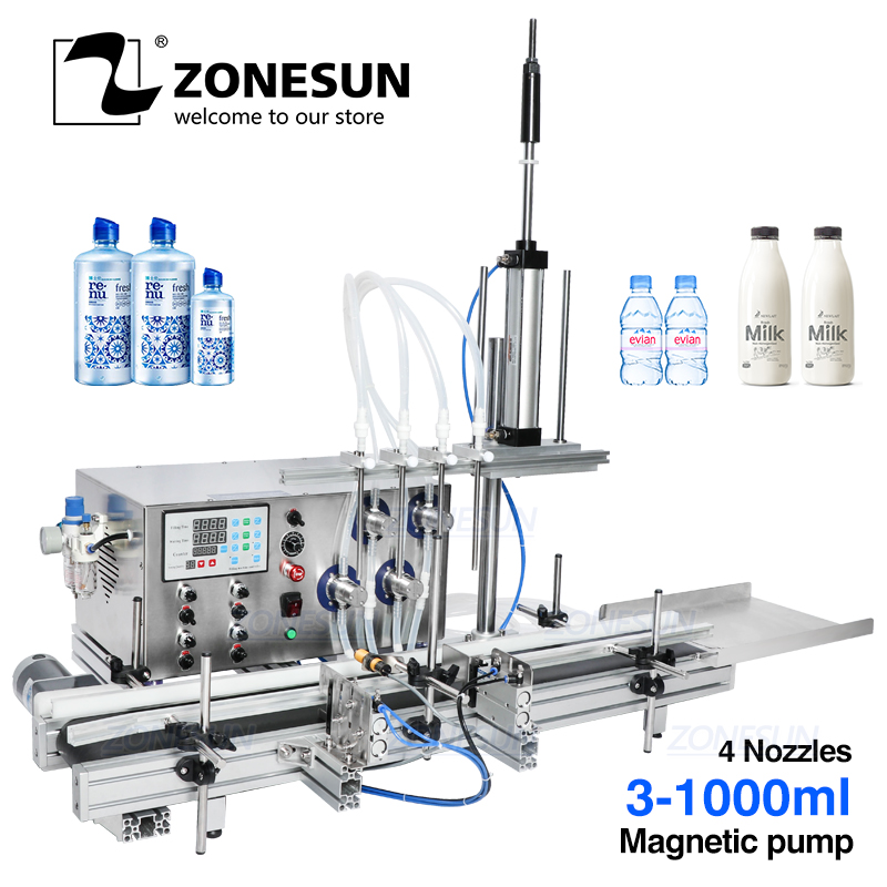 ZONESUN 4 Nozzles Magnetic Pump Automatic Desktop Liquid Water Filler With Conveyor Perfume Filling Machine