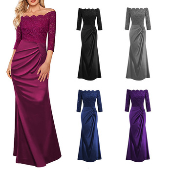 BacklakeGirls Elegant Lace Boat Neck Pleat Long Satin Evening Dress Floor-length Mother Of Bride Dress vestidos de mãe de noiva 1