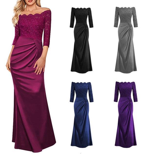 BacklakeGirls Elegant Lace Boat Neck Pleat Long Satin Evening Dress Floor-length Mother Of Bride Dress vestidos de mãe de noiva 1