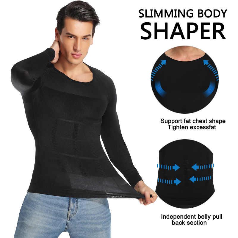 Mens Afslanken Body Shaper Shapewear Abs Buik Compressie Shirt Lange Mouw te Verbergen Gynaecomastie Moobs Winter Hemdjes