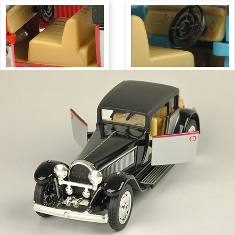 1:28 Vintage Bugatti Car Model Sound And Light Alloy Pull Back Flashing Classic Vintage Collective Music Car Toy Collection