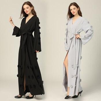 Women's Muslim Maxi Dresses Loose Hijab Kaftan Jilbab Dress Casual Long Sleeve Long Robe pearl beading bell sleeve hijab long dress