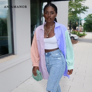 ANJAMANOR Fashion Color Block Button Up Shirts Women Clothes Fall Winter 2020 Patchwork Long Blouse Cardigan Casual Tops D7-CI33