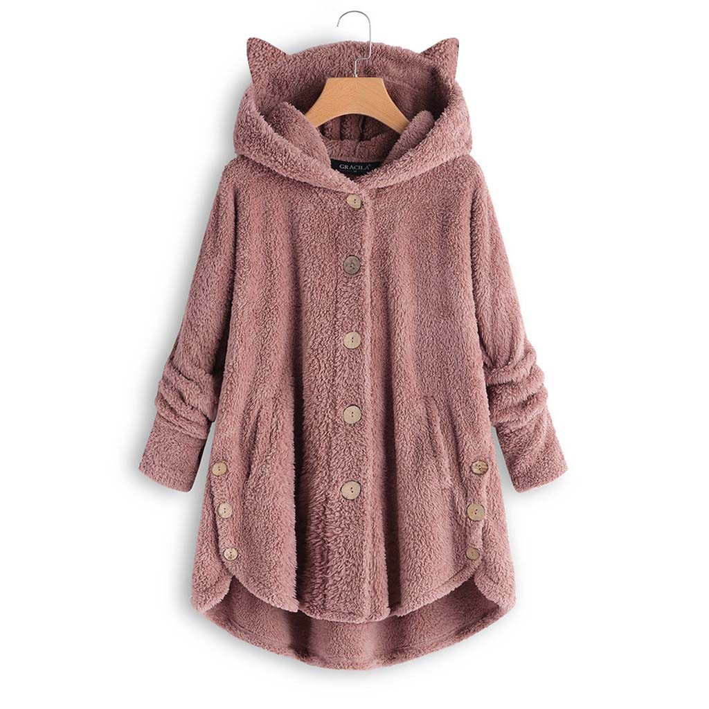 H9742af9091064a5eadc87e9d11ad86afE Women Flannel Coat Pockets Solid fleece Tops Hooded Pullover Loose Hoodies Plus Size Cat Ear Cute Womens Warm Sweatshirt 2019