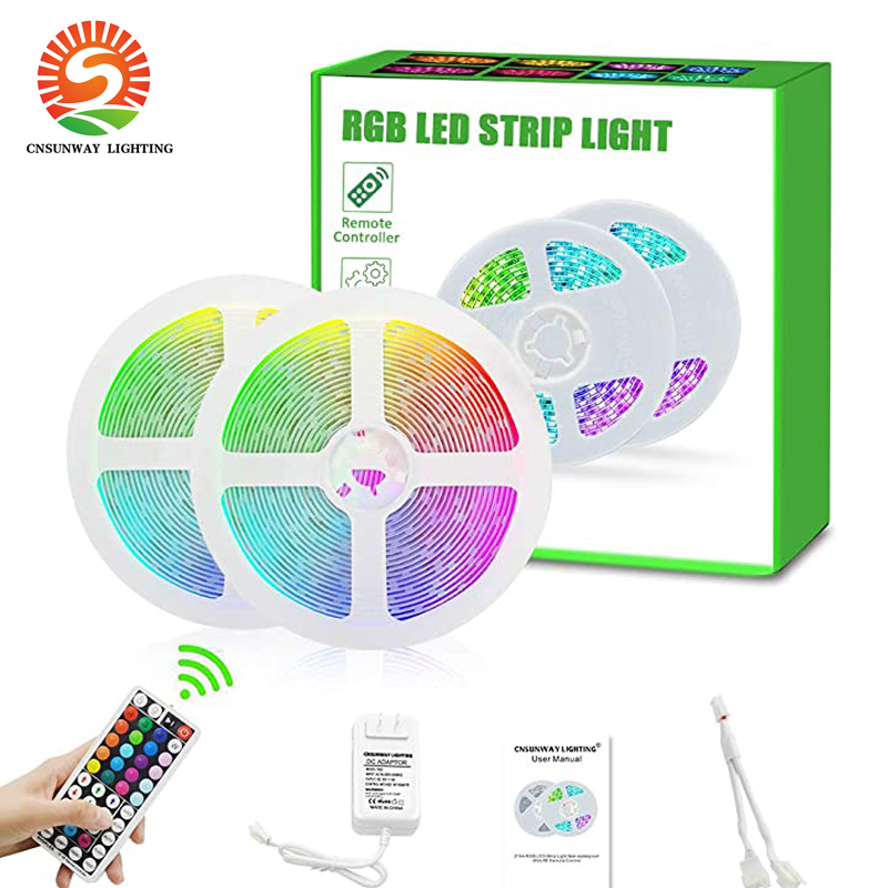Led Strip Lights RGB SMD5050 12V Color Changing Led Strip Lights With 44 Keys RF Remote Controller 2 In 1 Adapter Waterproof