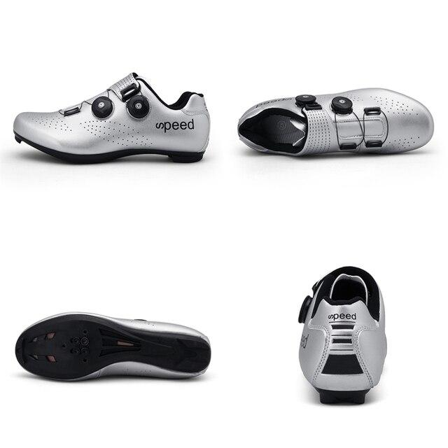 Alta qualidade dupla fivelas sapatos de ciclismo mtb respirável auto-bloqueio sapatos de bicicleta profissional tênis de estrada da bicicleta cleat sapatos 2