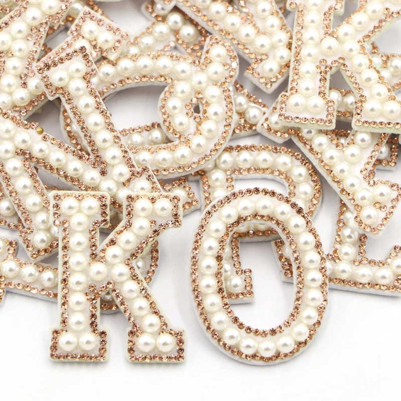 Autocollants perles or strass de 26 lettres   Écusson Alphabet anglais en perles 3D, Patch de broderie mixte pour vêtements, Logo Applique, bricolage
