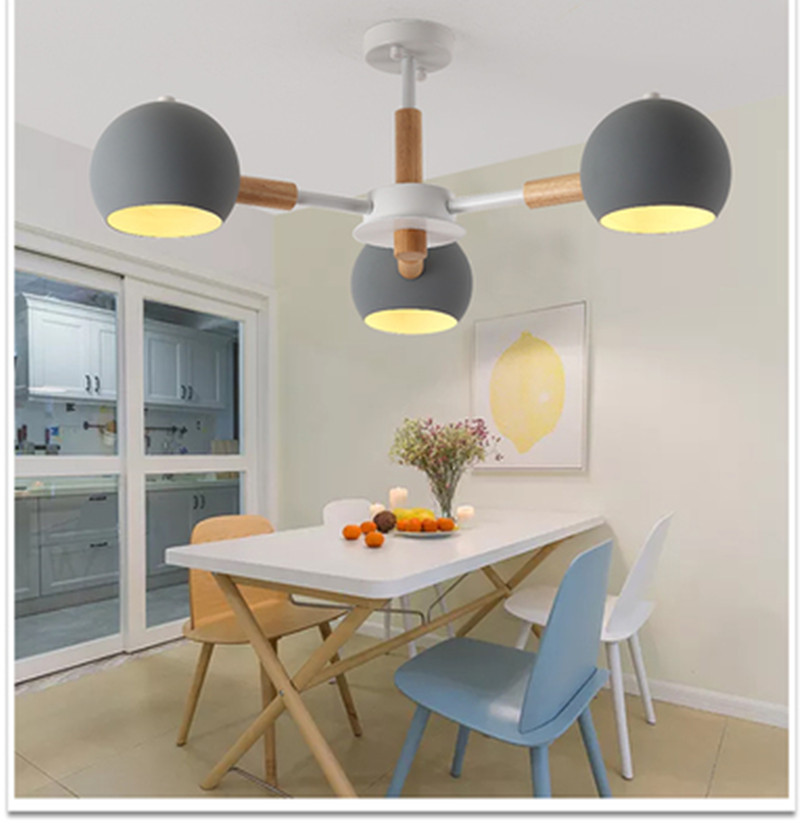 Nordic style solid wood lamps modern minimalist E27 led chandelier for living room dining room restaurant bedroom study|Pendant Lights| |  - title=
