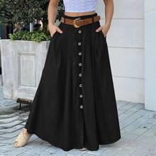 Mode automne Maxi jupes 2021 ZANZEA femmes bouton Robe d'été décontracté taille haute longue Vestidos femme solide Robe grande taille 5XL