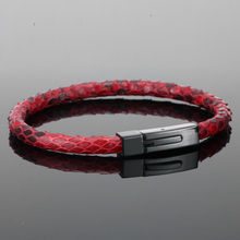 Bracelet Mens Python Skin Leather Bracelets for Men Real Python Skin Leather with 360L Titanium Steel Buckle Luxury Bracelet