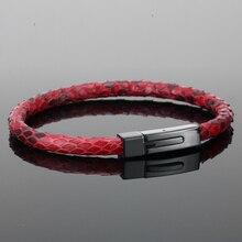 Bracelet en cuir de Python pour hommes, en vraie peau de Python, avec boucle en titane et acier 360l, accessoire de luxe