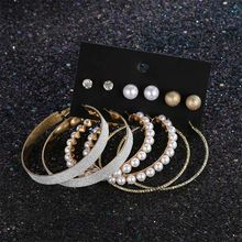 6 Pairs/set Punk Style Oversize Big Round Gold Hoop Earrings Set For Women Statement Jewelry Female Fashion Pearl Circle Earring(China)