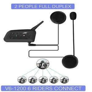 Image 2 - VNETPHONE 1200M 1 adet kablosuz Bluetooth motosiklet kask interkom 6 biniciler interkom kulaklık desteği Mp3 Intercomunicador Moto