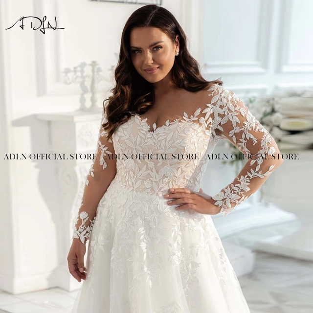 2021 New Plus Size Wedding Gown Long Sleeves Wedding Dress Customized Sweep Train A-line Tulle Lace Bridal Gown Vestido de Novia 3