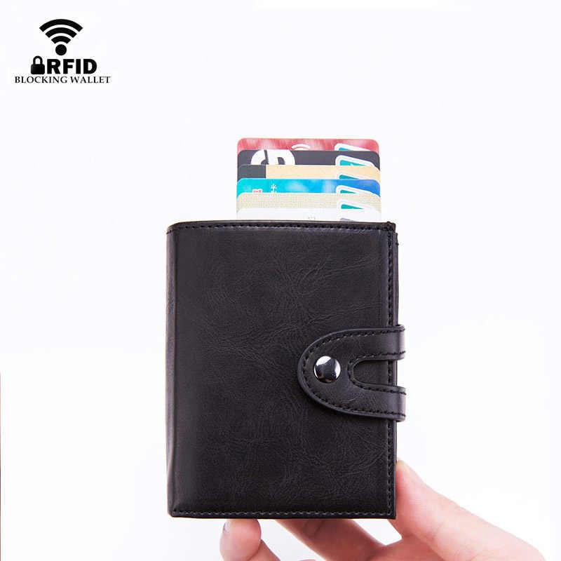 DIENQI Rfid portatarjetas inteligentes carteras de cuero para hombre cartera Trifold negro Vintage monederos cortos de hombre con bolsillo de monedas Walet Vallet
