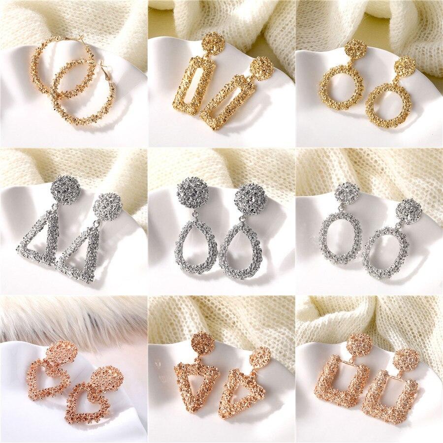 ALIUTOM Fashion Statement Earrings Big Metal Geometric Pendant Earrings For Women Hanging Dangle Earrings Drop Earing Bohemian