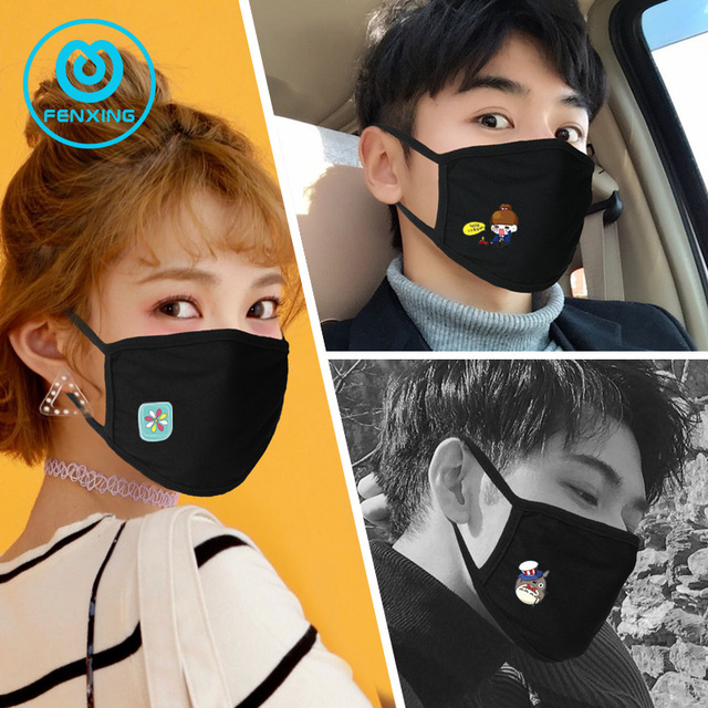 Cartoon Anime Mask Reusable Cotton Dust Mask High Quality Expression Fashion Personality Cotton Korean Mouth Mask for kids Adult 3