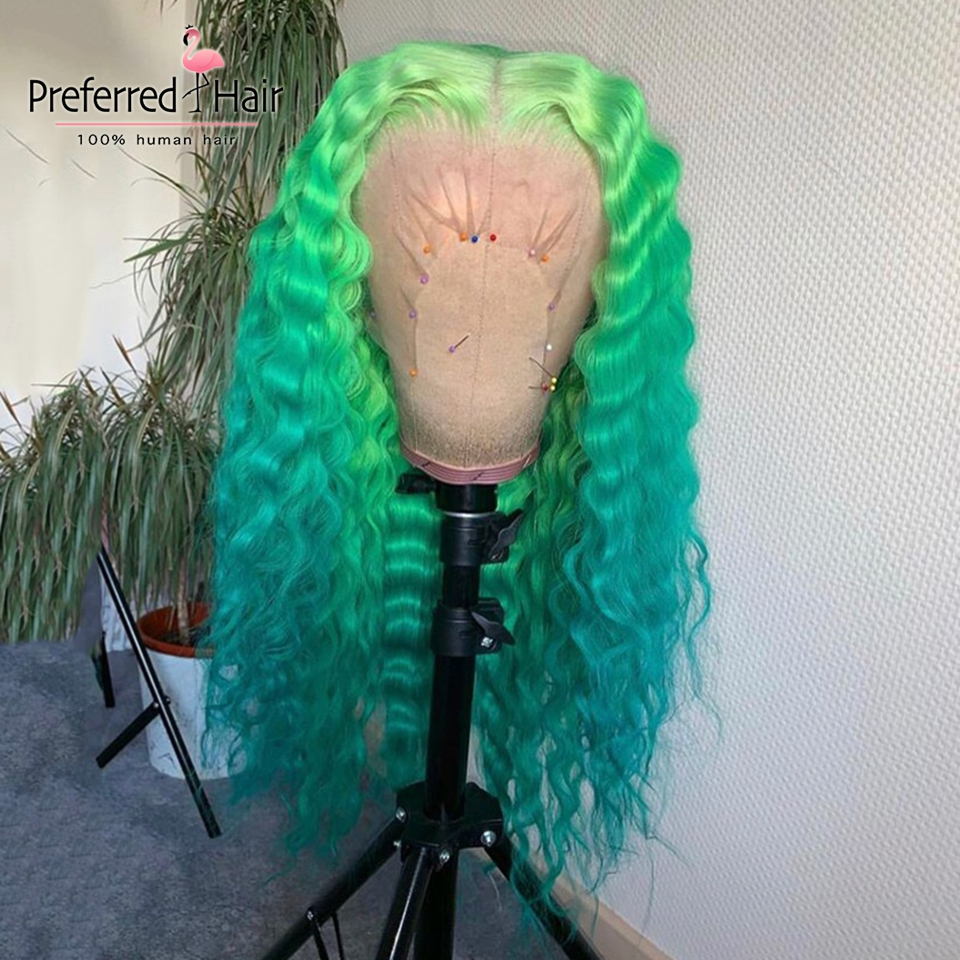 Preferred Curly Human Hair Wig With Baby Hair Ombre Lace Front Wig Preplucked Brazilian Remy Transparent Lace Wigs For Women