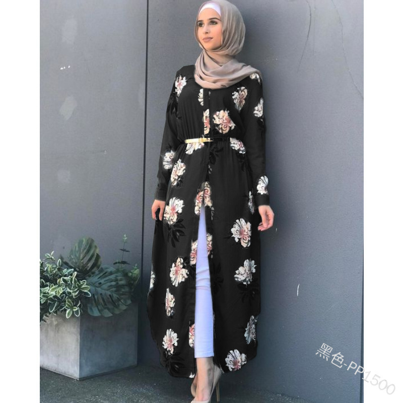 Women floral printed belted robe long Sleeve maxi Dress plus size Eid Ramadan kaftan gown Islamic muslim abaya Jubah Djellaba Women Women's Abaya Women's Clothings cb5feb1b7314637725a2e7: black|Blue|gray|Red